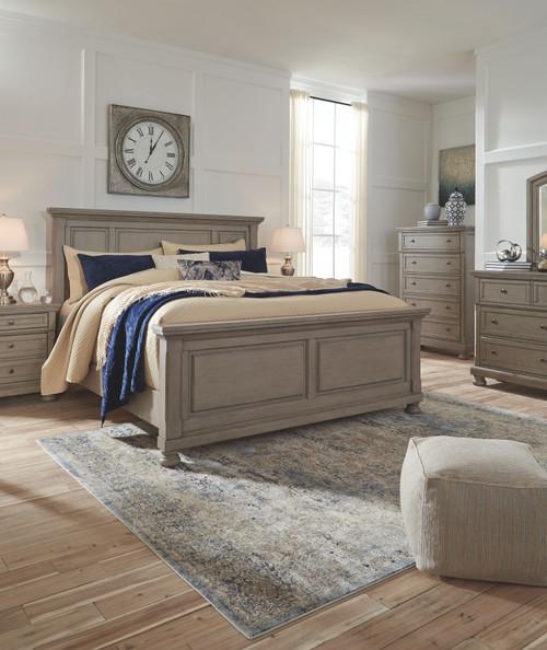 Lettner Light Gray 5 Pc. Dresser, Mirror & King Panel Bed