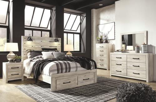 Cambeck Whitewash 5 Pc. Dresser, Mirror & Queen Panel Bed with Storage
