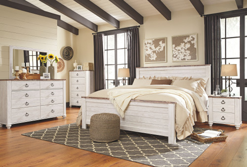 Willowton Whitewash 5 Pc. Dresser, Mirror & California King Panel Bed