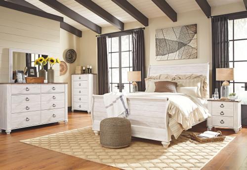 Willowton Whitewash 5 Pc. Dresser, Mirror & Queen Sleigh Bed