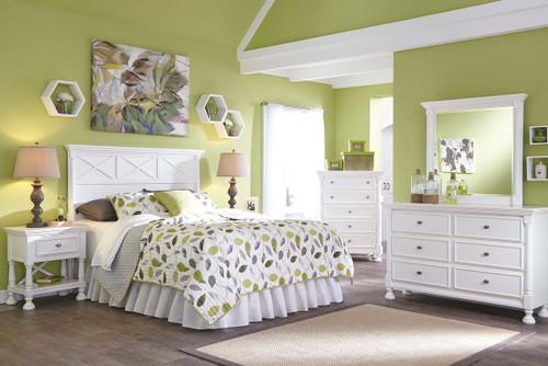 Kaslyn White 4 Pc. Dresser, Mirror, Chest & Queen Panel Headboard