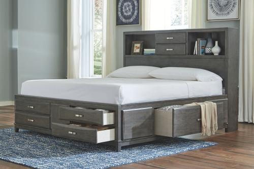 Caitbrook Gray California King Storage Bed
