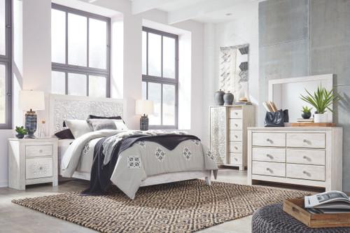 Paxberry Whitewash Dresser, Mirror & Queen Panel Bed