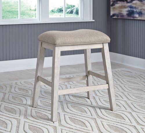 Skempton White/Light Brown Upholstered Stool (2/CN)