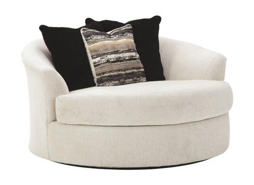 Cambri Snow Oversized Round Swivel Chair