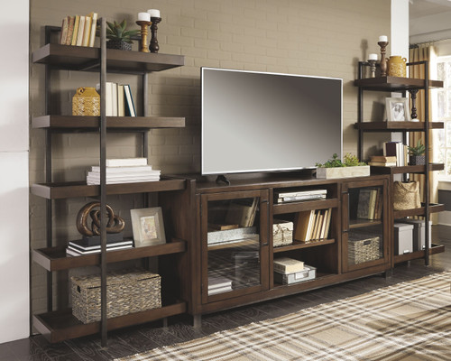 Starmore Brown Entertainment Center XL TV Stand & 2 Piers