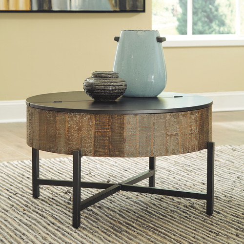 Nashbryn Gray/Brown Round Cocktail Table