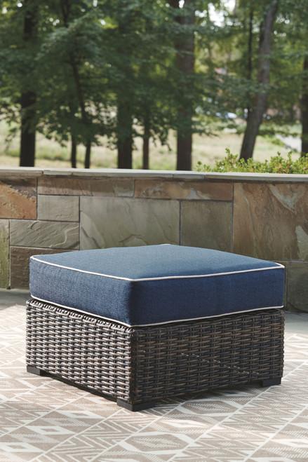Grasson Lane Brown/Blue Ottoman with Cushion