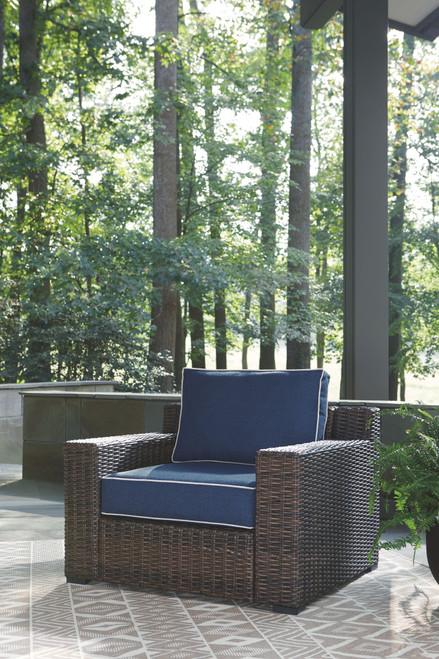 Grasson Lane Brown/Blue Lounge Chair w/Cushion (1/CN)