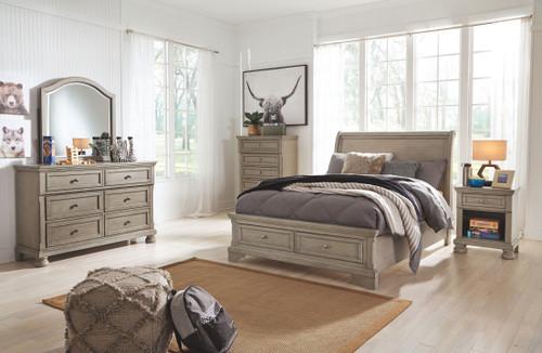 Lettner Light Gray 7 Pc. Dresser, Mirror, Chest, Full Sleigh Bed & Nightstand