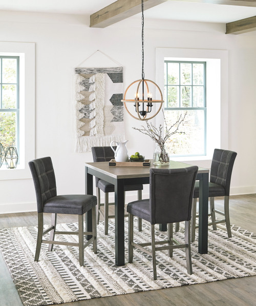 Dontally Two-tone 5 Pc. SQ  Counter Table & 4 Upholstered Barstools