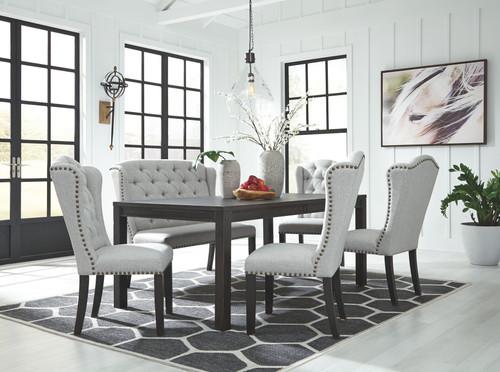 Jeanette Black 6 Pc. Rectangular  Table, 4 Upholstered Side Chairs & Upholstered Bench
