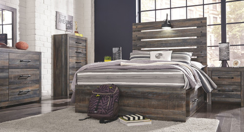Drystan Multi Dresser, Mirror, Chest, Full Panel Bed with 2 Storage Drawers & 2 Nightstands