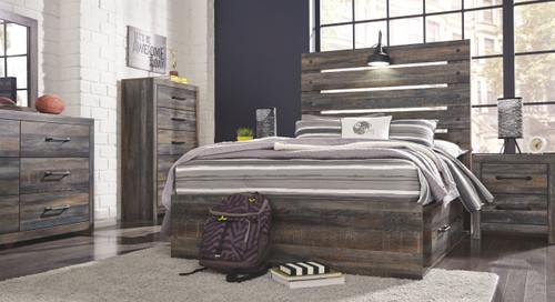 Drystan Multi Dresser, Mirror & Full Panel Bed with 2 Storage Drawers