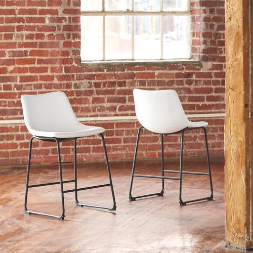 Centiar White Upholstered Barstool (2/CN)