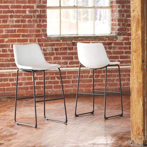 Centiar White Tall Upholstered Barstool (2/CN)