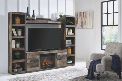 Derekson Multi Gray Entertainment Center LG TV Stand, 2 Piers, Bridge with Fireplace Insert Infrared