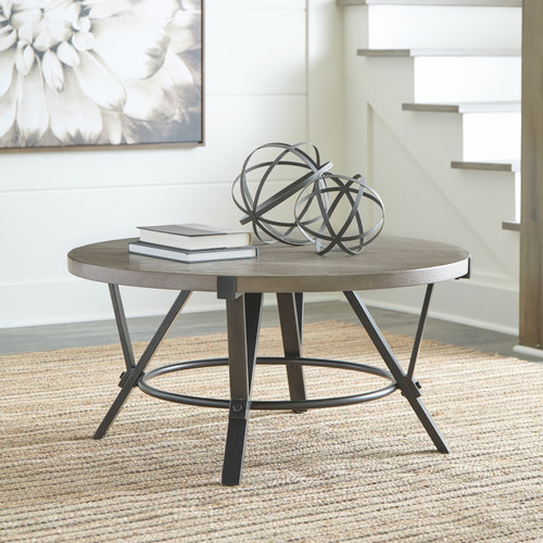 Zontini Light Brown Round Cocktail Table