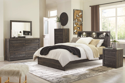 Vay Bay Charcoal 6 Pc. Dresser, Mirror, King Bookcase Panel Bed & Nightstand