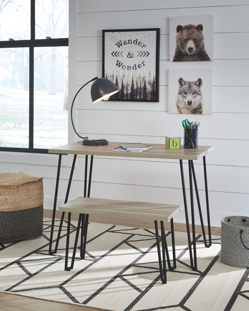 Blariden Brown/Black Desk w/Bench