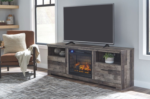 Derekson Multi Gray XL TV Stand with Fireplace Insert Glass/Stone