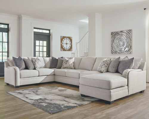 Dellara Chalk 5-Piece Sectional with Chaise