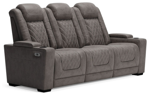 HyllMont Gray Power Reclining Sofa with ADJ Headrest