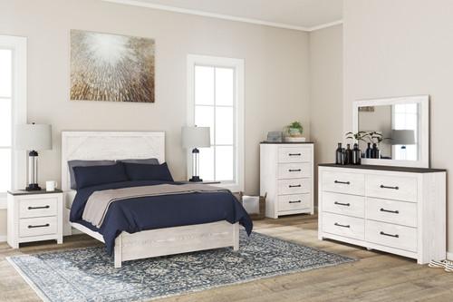 Gerridan White/Gray 7 Pc. Dresser, Mirror, Chest, Full Panel Bed, 2 Nightstands