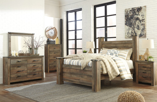 Trinell Brown 9 Pc. Dresser, Mirror, Chest, Queen Poster Bed & 2 Nightstands