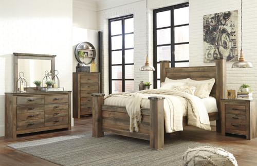 Trinell Brown 8 Pc. Dresser, Mirror, Queen Poster Bed & 2 Nightstands