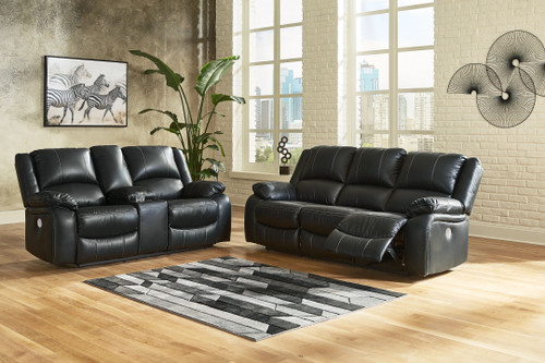 Calderwell Black 2 Pc. Reclining Power Sofa, Double Reclining Power Loveseat with Console