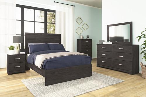 Belachime Black 7 Pc. Dresser, Mirror, Chest, Full Panel Bed, 2 Nightstands