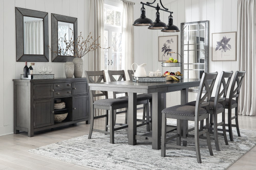 Myshanna Gray 8 Pc. Rectangular Dining Room Counter Extension Table, 6 Upholstered Barstools, Server