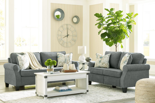Alessio Charcoal 5 Pc. Sofa, Loveseat, Bayflynn Lift Top Cocktail Table, 2 End Tables