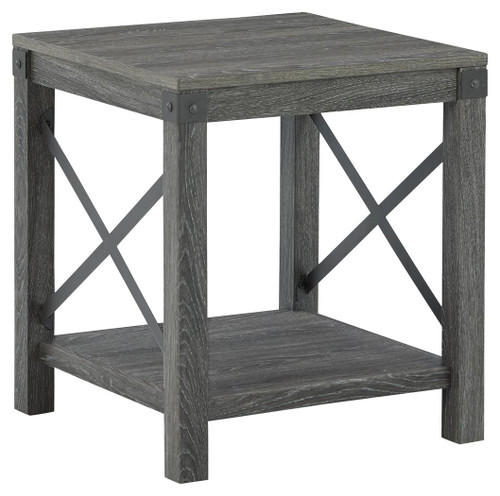 Freedan Grayish Brown Square End Table