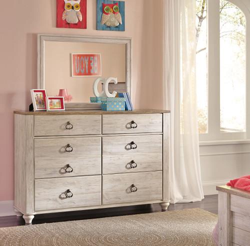 Willowton Whitewash Kids Dresser & Mirror