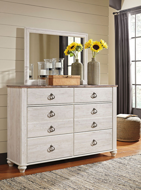 Willowton Whitewash Dresser & Mirror