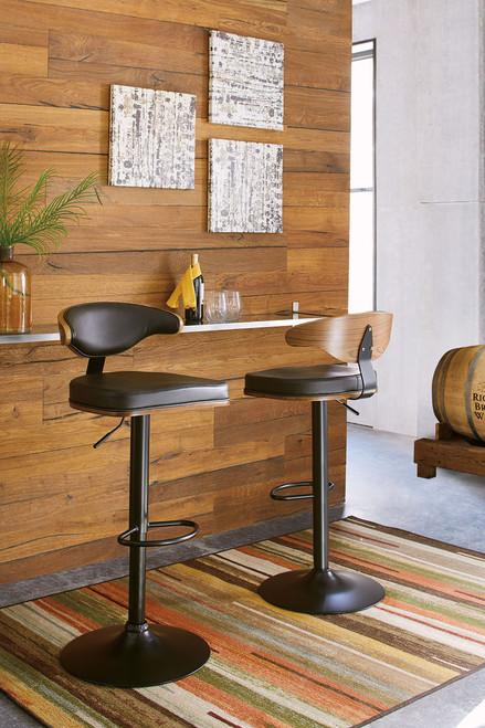 Adjustable Height Barstools Brown/Black Tall Upholstered Swivel Barstool