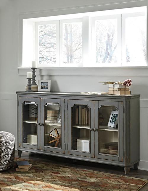 Mirimyn Antique Gray 4 Door Accent Cabinet