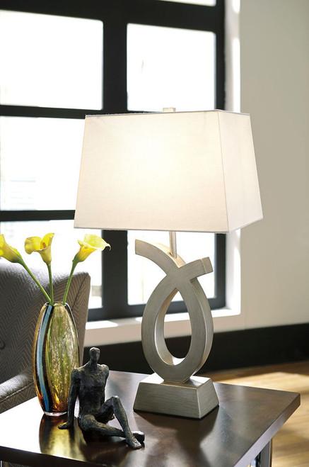 Amayeta Silver Finish Poly Table Lamp (2/CN)