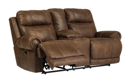 Austere Brown Double Reclining Power Loveseat with Console