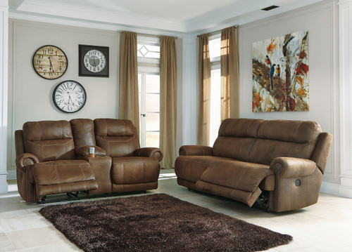 Austere Brown Reclining Power Sofa & Loveseat Set