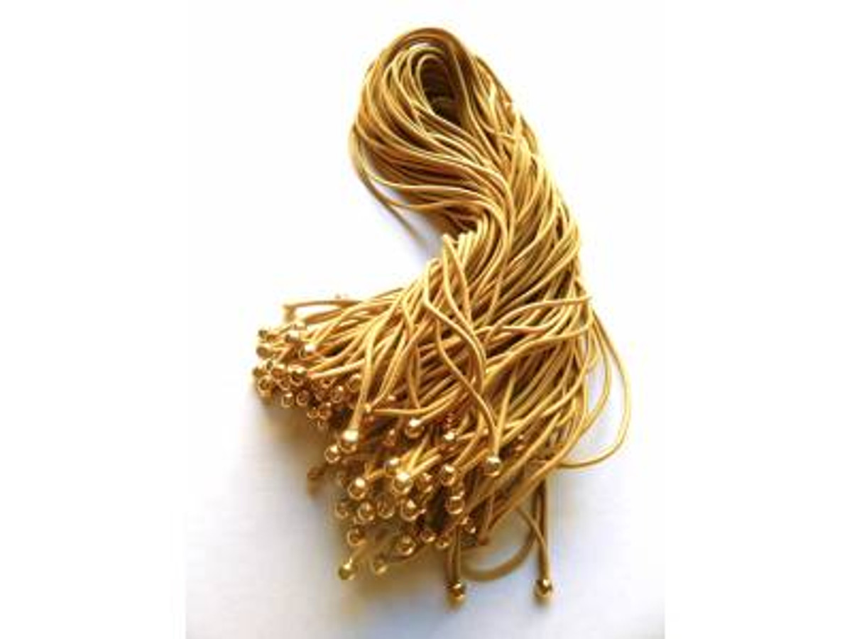 """11"""" Matte Gold Elastic Loop with Gold Ball"""