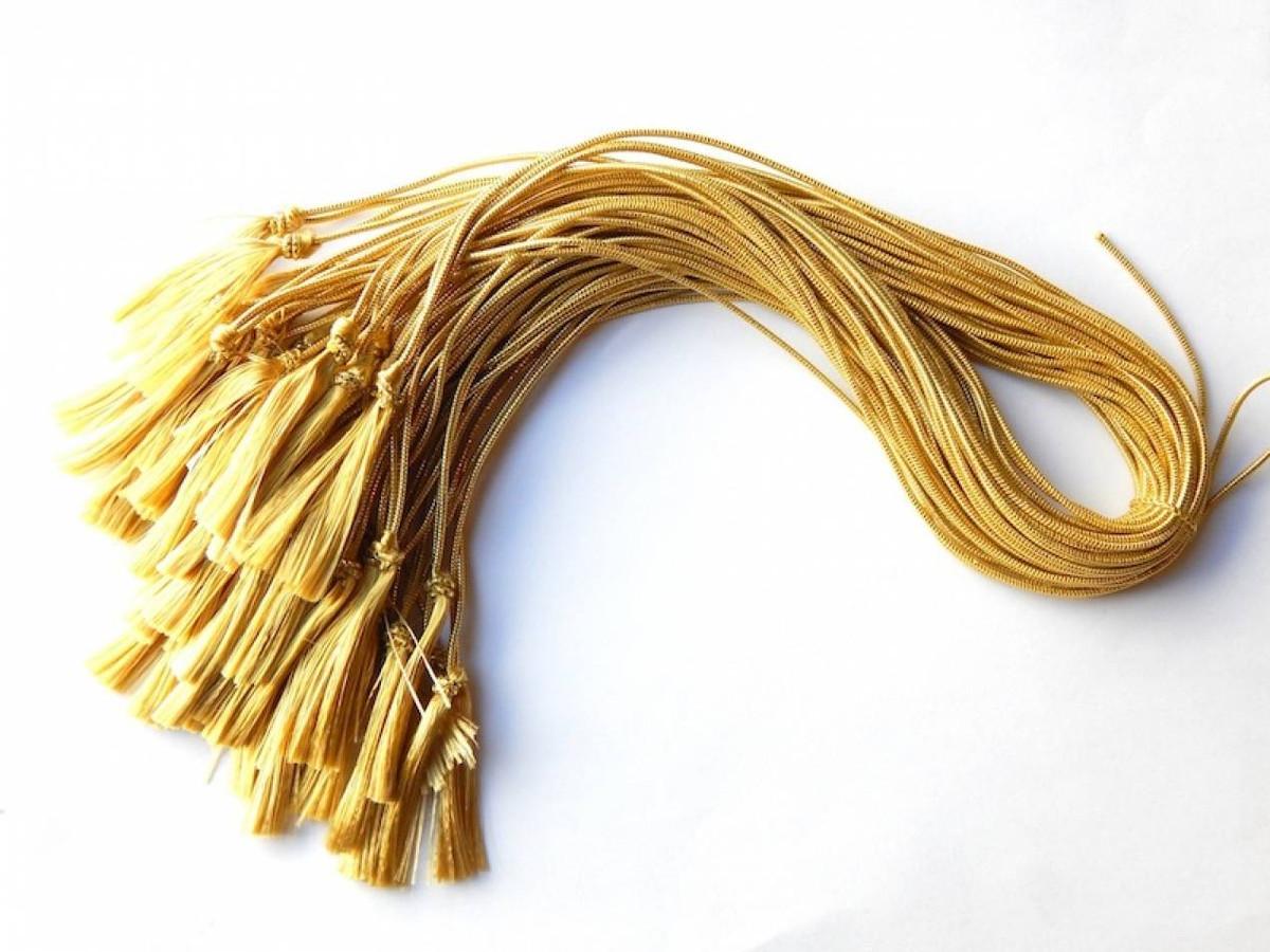 """10"""" Semi-Metallic Gold Elastic Program Tassels"""