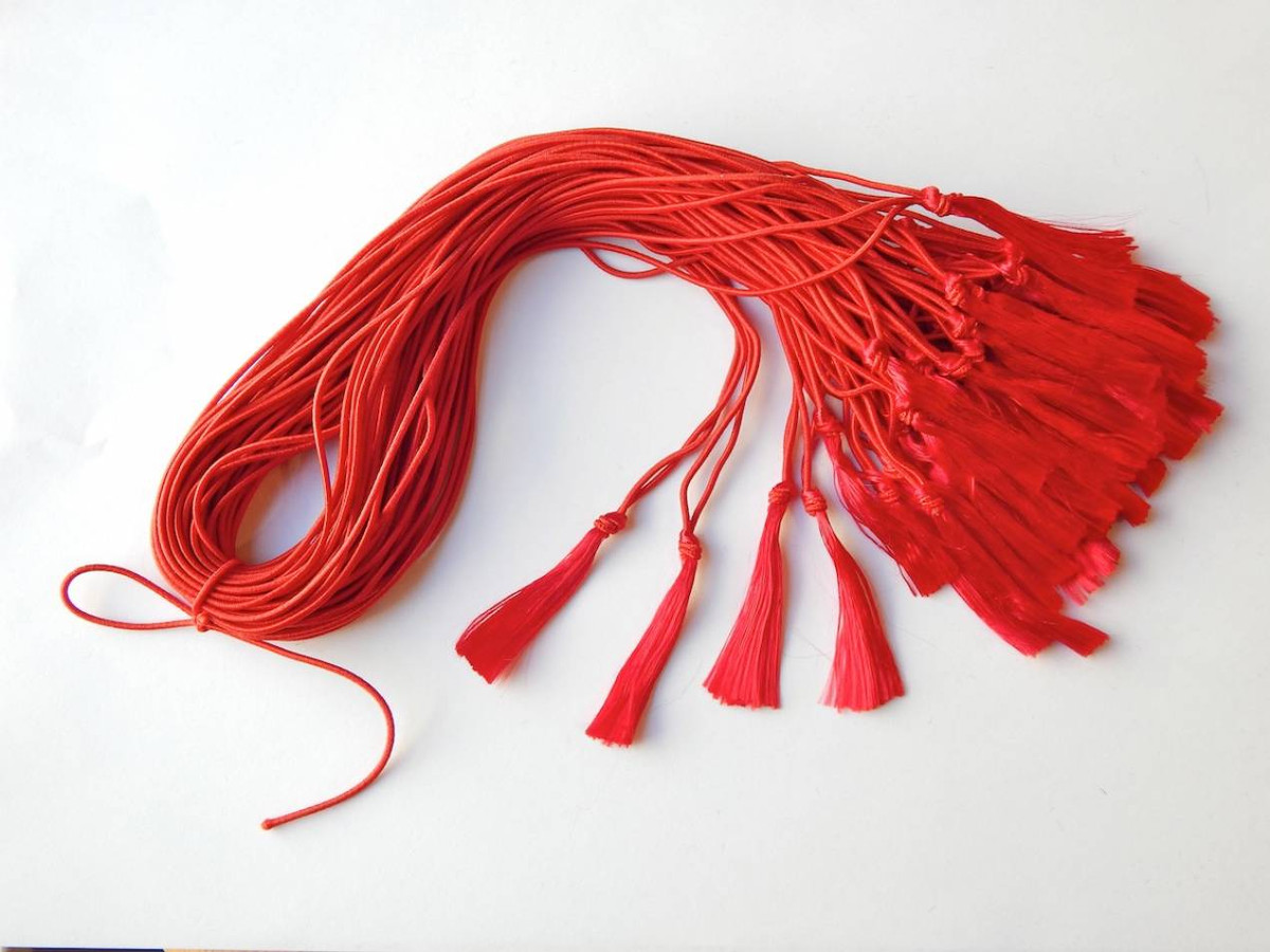 "8"" Red Elastic Program Tassels"