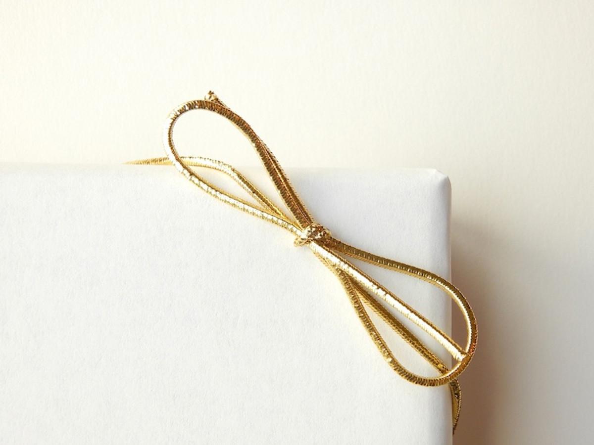 "10"" Gold Metallic Elastic Bows"