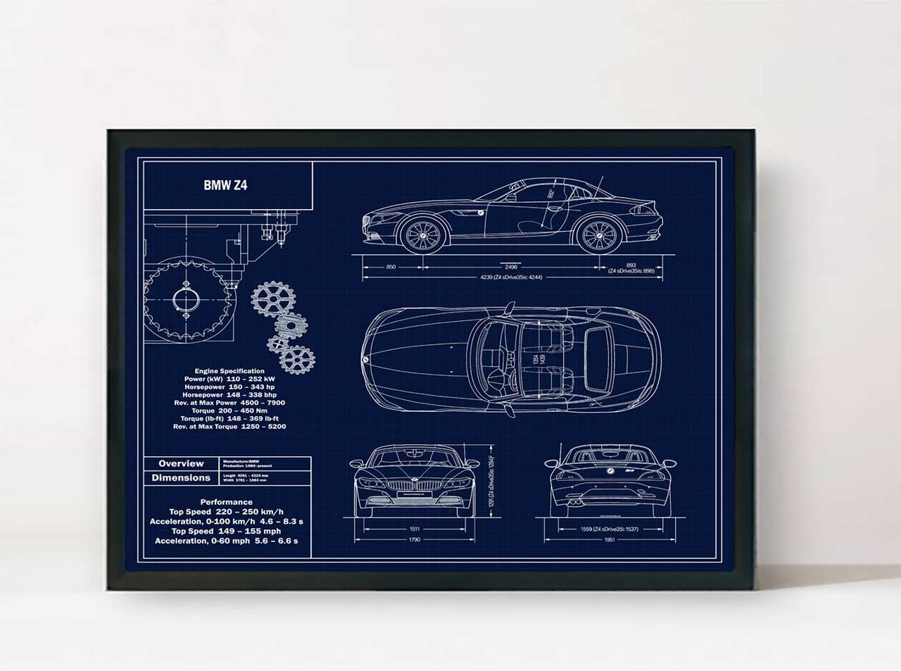 BMW Z4 Blueprint Art Print