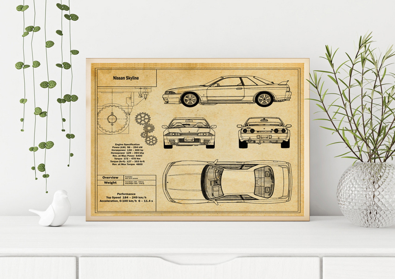 Nissan Skyline Blueprint Art Print