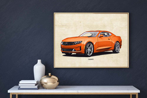 Chevrolet Camaro orange Art Print
