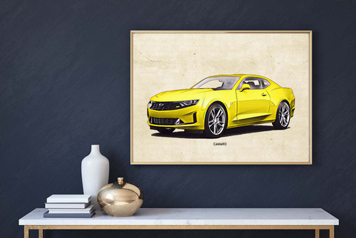 Chevrolet Camaro Yellow Art Print